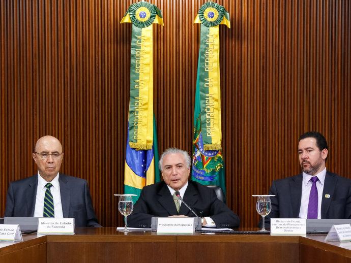 Presidente interino Michel Temer durante apresentação das medidas econômicas, em Brasília(Marcos Corrêa/PR)