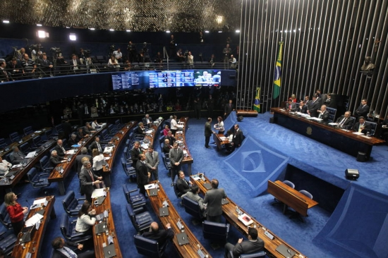 Sessão do plenário do Senado Federal que vai decidir sobre o afastamento da presidente Dilma Rousseff por até 180 dias, nesta quarta feira (11) em Brasilia (DF).