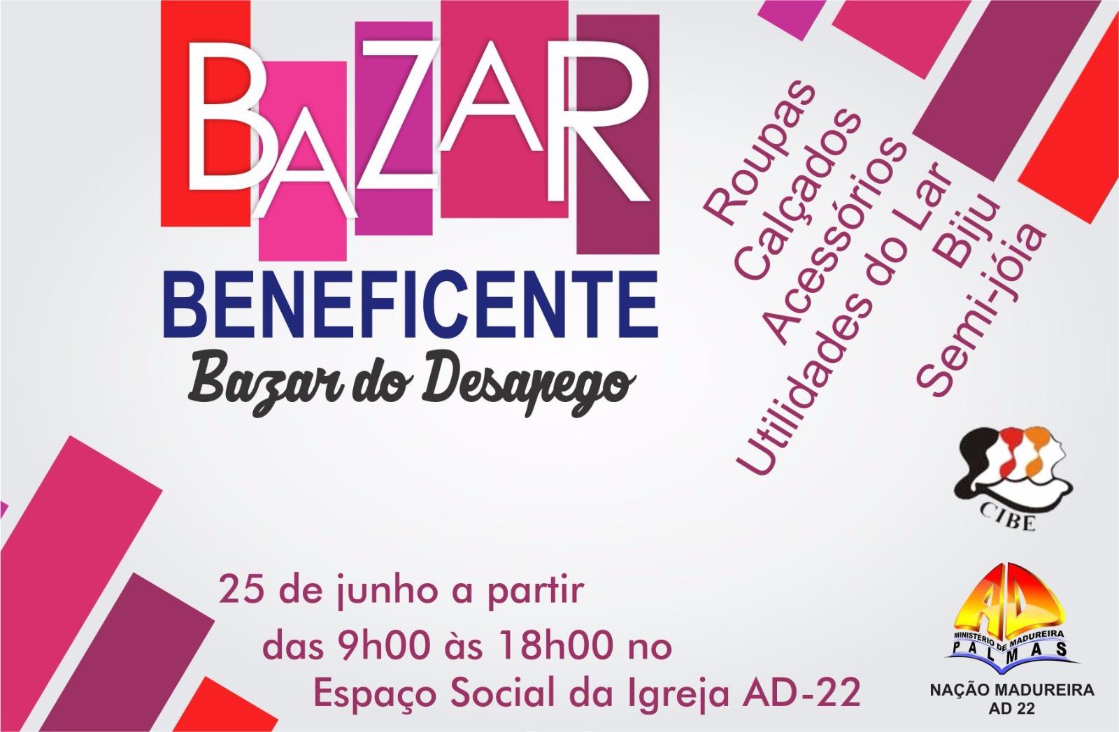 Bazar beneficente das 9 às 19h deste sábado, dia 25