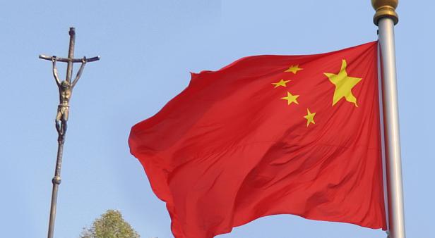 China bandeira e cruz