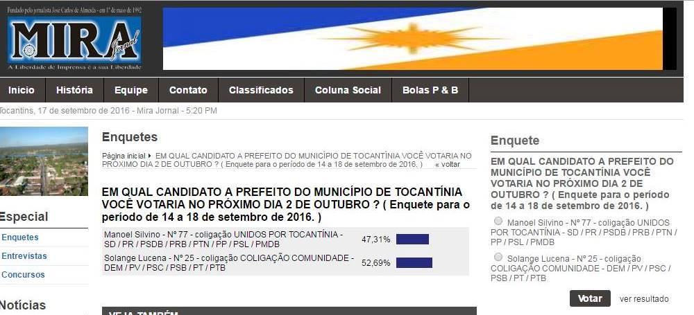 MP Eleitoral entra com ação contra site que veiculou enquete de opinião eleitoral