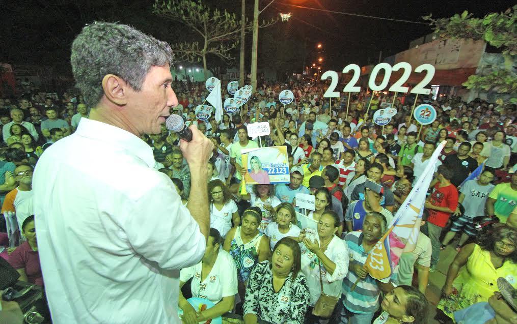 O comício contou com a presença da senadora e ex-ministra da agricultura Kátia Abreu (PMDB).