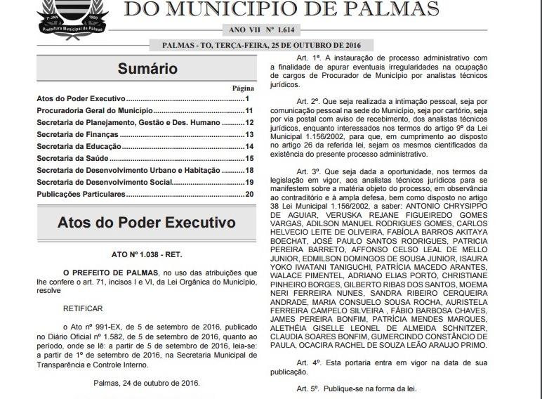"""Em Palmas, Analistas Jurídicos """"enquadrados"""" ao cargo de Procurador vão responder a processo administrativo disciplinar"""