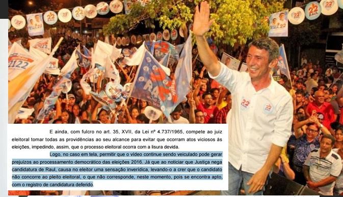 Justiça Eleitoral afirma que Raul Filho encontra-se apto a disputar as eleições e determina a suspensão da conta no twitter de Marcelo Lelis