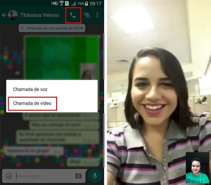 Função de chamada de vídeo foi liberada primeiro para quem tem o WhatsApp Beta, versão de testes do mensageiro (Foto: Reprodução/ Aline Batista)
