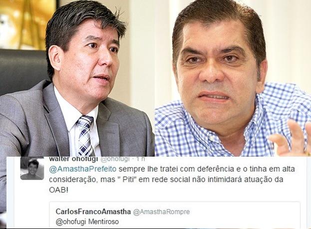 "IPTU: No twitter, Amastha ataca OAB e chama presidente de ""mentiroso""; Ohofugi rebate"